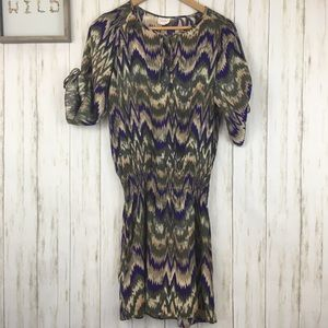 Parker Silk Drop Waist ZigZag Print Dress Sz S